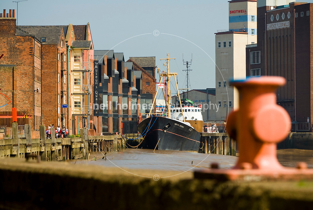 The Arctic Corsair sidewinder trawler, now preserved, berthed on the river Hull as part of the StreetLife museum.