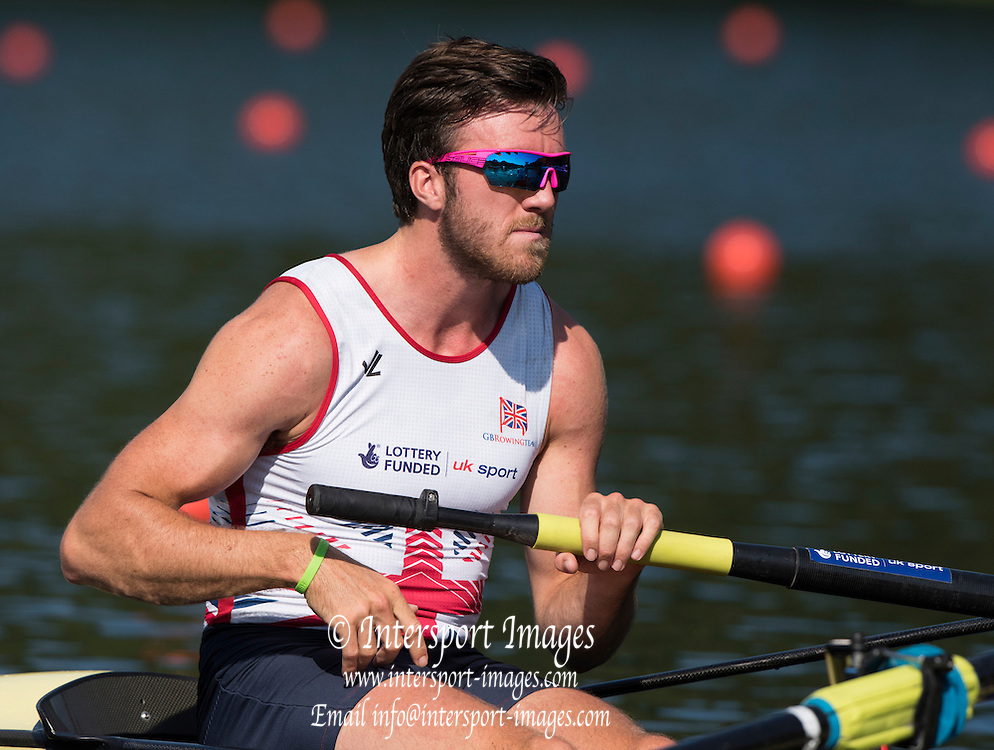 Lucerne, SWITZERLAND. GBR M4- Bow, Alan SINCLAIR,  heat of the men's four, 2015 FISA World Cup III, Lake Rotsee,  08:39:17  Friday  10/07/2015   [Mandatory Credit. Peter SPURRIER/Intersport Images.