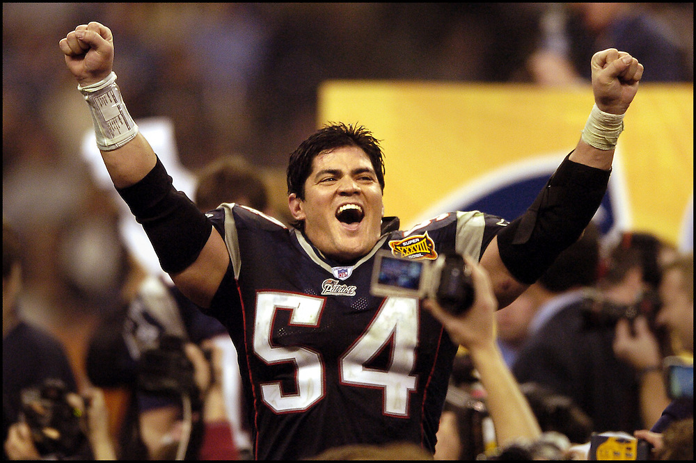 (2/2/04Houston, TX) Super Bowl XXXVIII. New England Patriots. Tedy Bruschi cedlebrates the win. (020104patsmjs-staff photo by Michael Seamans. Saved in photo Monday/cd)