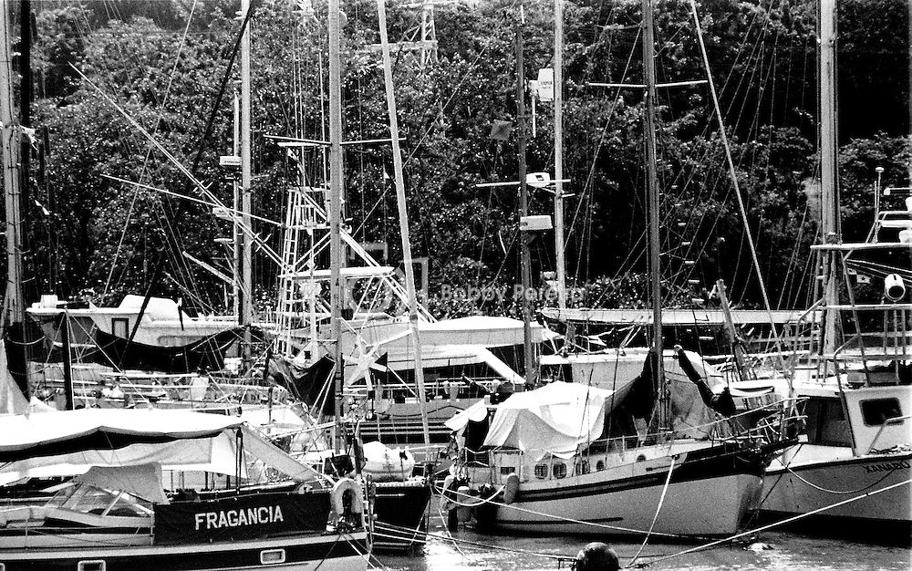 Sailboats parked at the Miraflores Lake at the Panama Canal.
