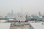 DUBAI, UAE - APRIL 30, 2016: The skyline of Downtown Dubai as seen from the 2015 extension of Alserkal Avenue in Al Quoz Industrial Area.