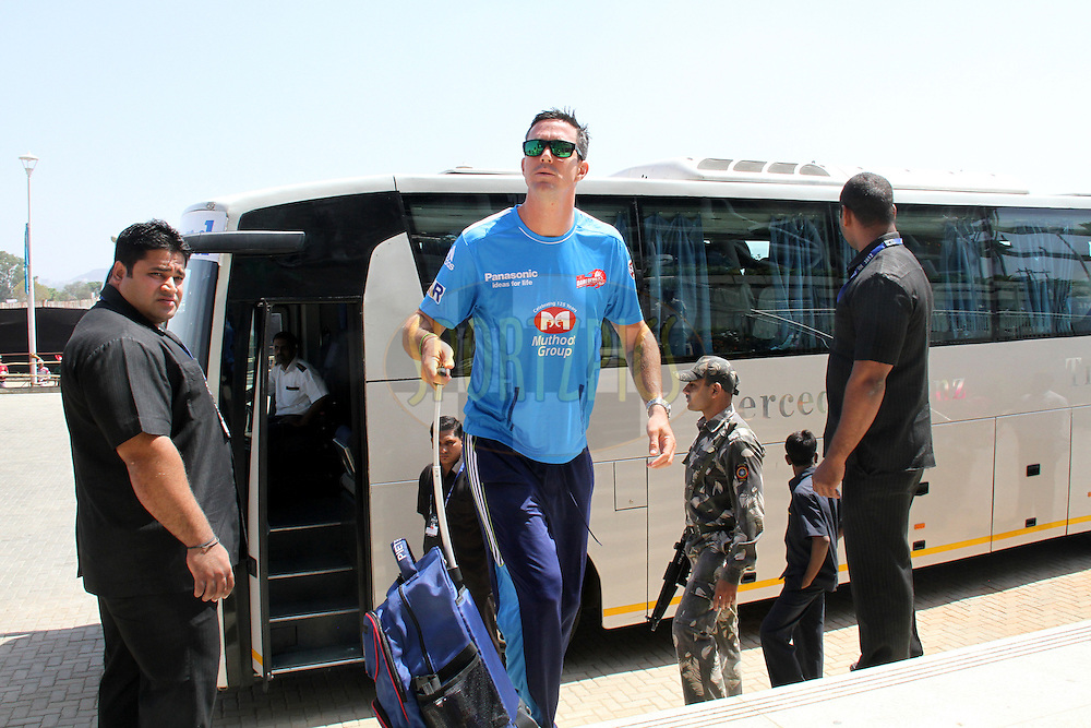 Kevin Peaterson arrives for  match 31 of the the Indian Premier League ( IPL) 2012  between The Pune Warriors India and the Delhi Daredevils held at the Subrata Roy Sahara Stadium, Pune on the 24th April 2012..Photo by Prashant Bhoot/IPL/SPORTZPICS
