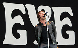 © licensed to London News Pictures . 30/06/2012 . Manchester , UK . Beady Eye , fronted by Liam Gallagher , perform on stage at Heaton Park as warm up for the Stone Roses , who are on their comeback tour . Photo credit : Joel Goodman/LNP