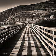 Fairbourne Railway Bridge over the Mawddach Estuary at Barmouth, mid Wales, in Spring sunlight