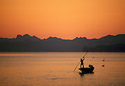 Fisherman in boat at dawn, Loreto, Baja California, Mexico..