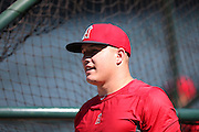ANAHEIM, CA - JULY 26:  Mike Trout #27 of the Los Angeles Angels of Anaheim looks on during batting practice before the game against the Detroit Tigers at Angel Stadium on Saturday, July 26, 2014 in Anaheim, California. The Angels won the game in a 4-0 shutout. (Photo by Paul Spinelli/MLB Photos via Getty Images) *** Local Caption *** Mike Trout