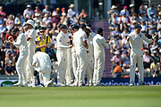 England celebrate the wicket of Cheteshwar Pujara  during the fourth day of the 4th SpecSavers International Test Match 2018 match between England and India at the Ageas Bowl, Southampton, United Kingdom on 2 September 2018.