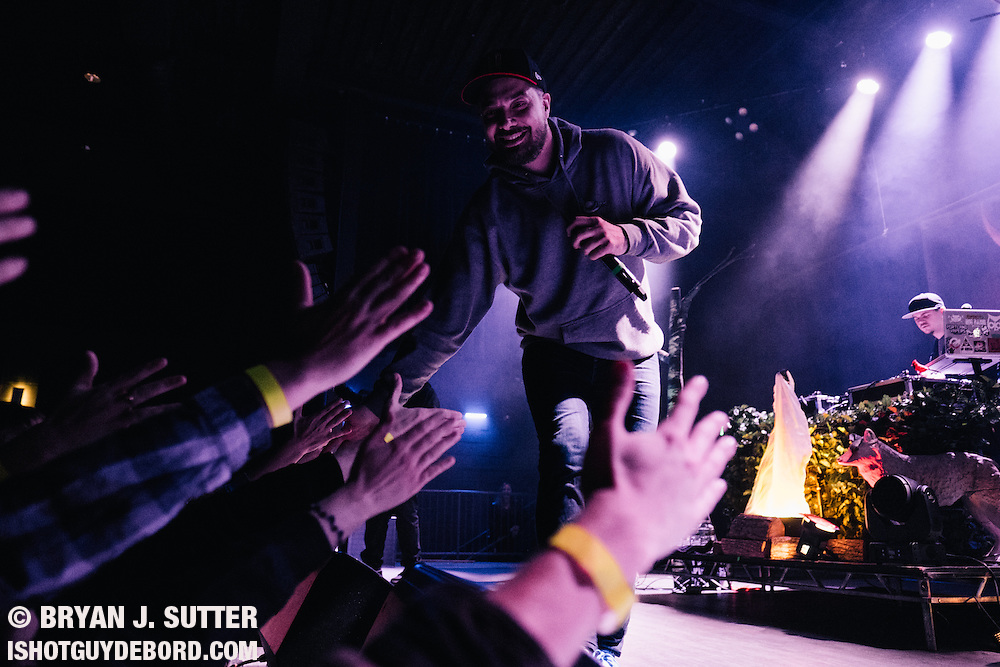 Indie rap legend Aesop Rock with Rob Sonic and DJ Zone performing to a sold out crowd at Delmar Hall in Saint Louis, Missouri on January 10th, 2017. Gallery also includes photos of tour support Homeboy Sandman.