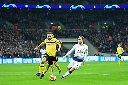 February 13, 2019 - London, England, United Kingdom - Borussia Dortmund defender Marcel Schmelzer battles with Tottenham midfielder Christian Eriksen during the UEFA Champions League match between Tottenham Hotspur and Ballspielverein Borussia 09 e.V. Dortmund at Wembley Stadium, London on Wednesday 13th February 2019. (Credit: Jon Bromley | MI News & Sport Ltd) (Credit Image: © Mi News/NurPhoto via ZUMA Press)