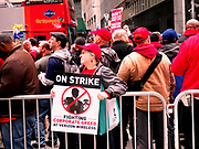 New York, N.Y. USA-5th May 2016-Verizon Workers and Union's On Strike hold rally and march in New York City, over one thousand workers and unions from across the area came out in support. Rally held outside Verizon offices at 100 Wall Street in New York City-Credit: Mark Apollo/Hashtag occupy Media