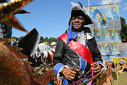 © Licensed to London News Pictures. 29/08/2016. Leeds, UK. The carnival king in a boat costume at the Leeds West Indian Carnival in Leeds, West Yorkshire. First run in the 1960's, the Leeds West Indian Carnival is Europe's longest running authentic Caribbean carnival parade. Photo credit : Ian Hinchliffe/LNP