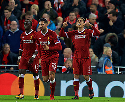 LIVERPOOL, ENGLAND - Wednesday, December 6, 2017: Liverpool's Roberto Firmino celebrates scoring the third goal during the UEFA Champions League Group E match between Liverpool FC and FC Spartak Moscow at Anfield. (Pic by David Rawcliffe/Propaganda)