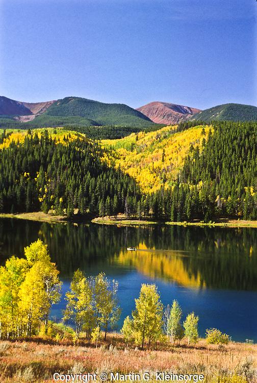 Sylvan Lake during the autumn season. Sylvan Lake State Park, Colorado.