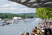 Henley on Thames, England, United Kingdom, Sunday, 07.07.19, Molesey Boat Club (top) leading Mercantile Rowing Club, Australia, as they pass the Enclosure, Henley Royal Regatta,  Henley Reach, [©Karon PHILLIPS/Intersport Images]<br /> <br /> 16:26:11 1919 - 2019, Royal Henley Peace Regatta Centenary,