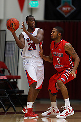 Nov 15, 2011; Stanford CA, USA;  Southern Methodist Mustangs forward Robert Nyakundi (24) is defended by Fresno State Bulldogs forward Jerry Brown (0) during the first half of a preseason NIT game at Maples Pavilion.  Mandatory Credit: Jason O. Watson-US PRESSWIRE