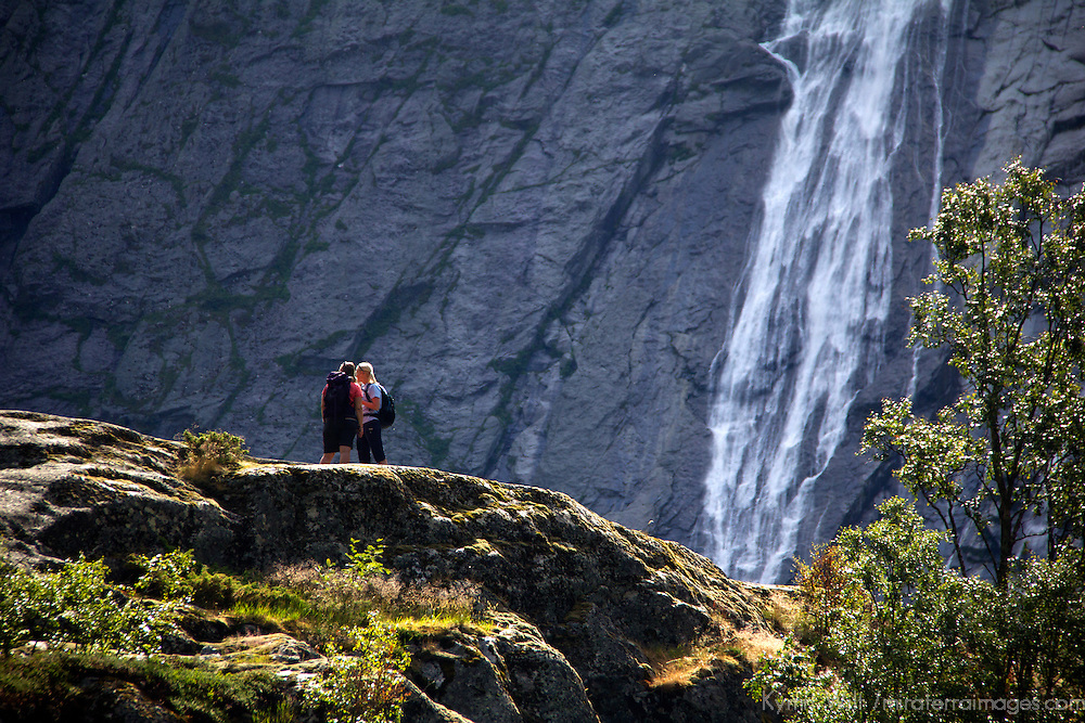 Europe, Norway, Olden. Hikers at Jostedalsbreen National Park.