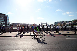 UK ENGLAND LONDON 21JUL15 - Cyclists and commuters arrive in London Bridge at the start of a working day in London.<br /> <br /> <br /> <br /> jre/Photo by Jiri Rezac / Greenpeace<br /> <br /> <br /> <br /> © Jiri Rezac 2015