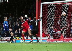 Bristol City's Liam Fontaine prods the ball in at the far post to put Bristol City 2 nil up - Photo mandatory by-line: Joe Meredith/JMP - Tel: Mobile: 07966 386802 23/02/2013 - SPORT - FOOTBALL - Ashton Gate - Bristol -  Bristol City V Barnsley - Npower Championship