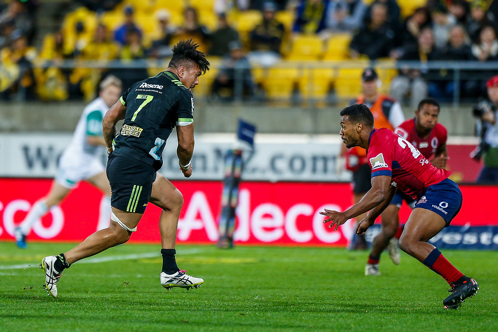 Ardie Savea runs with the ball during the Super rugby union game (Round 14) played between Hurricanes v Reds, on 18 May 2018, at Westpac Stadium, Wellington, New  Zealand.    Hurricanes won 38-34.