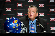 DALLAS, TX - JULY 21:  Kansas head coach Charlie Weis speaks during the Big 12 Media Day on July 21, 2014 at the Omni Hotel in Dallas, Texas.  (Photo by Cooper Neill/Getty Images) *** Local Caption *** Charlie Weis