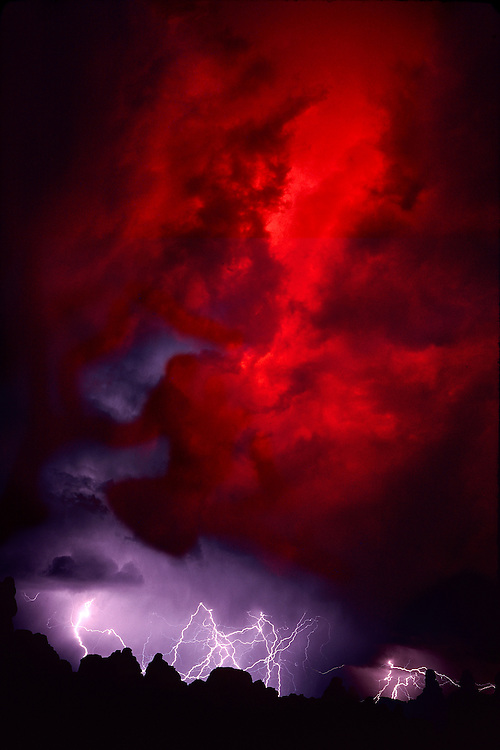 Lightning storm, red clouds, Needles District, Canyonlands