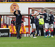 Dundee's interim manager Neil McCann applauds the fans as Mark O'Hara and Kevin Holt celebrate at full time - Motherwell v Dundee, Fir Park, Motherwell, Photo: David Young<br /> <br />  - © David Young - www.davidyoungphoto.co.uk - email: davidyoungphoto@gmail.com