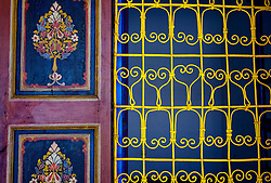 Decorative painting in the Bahia Palace in Marrakech, Morocco, North Africa<br /> <br /> <br /> (c) Andrew Wilson | Edinburgh Elite media
