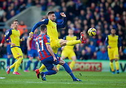 LONDON, ENGLAND - Saturday, February 21, 2015: Arsenal's Oliver Giroud in action against Crystal Palace during the Premier League match at Selhurst Park. (Pic by David Rawcliffe/Propaganda)