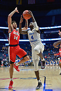 Middle Tennessee Blue Raiders forward James Hawthorne (4) iis defdned by Middle Tennessee Blue Raiders guard Chase Miller (14) during an NCAA college basketball game in Nashville, Tenn., Friday, Dec. 21, 2018. (Jim Brown/Image of Sport)