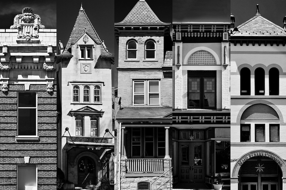 "Buildings left to right:  1.  E.P. Wilbur Trust Co., ""Flatiron Building"" (1910) on W. 4th St. and Broadway Ave, in South Bethlehem.  2. The Schwab Mansion on Delaware Ave.  Leh additions and alterations 1909,1915. 3. Corner of row on Cherokee St., Fountain Hill (1894).  4. A.W. Leh's pharmacy building designed in 1888 on W. Broad St., Bethlehem, now Ambre Studio, Inc.,  5. Originally the Lerch & Rice Company known as The Bee Hive, (1891). Now Main Street Commons on Main Street, Bethlehem, PA."