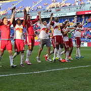 HARRISON, NEW JERSEY- OCTOBER 16:  New York Red Bulls players salute the fans after the New York Red Bulls Vs Columbus Crew SC MLS regular season match at Red Bull Arena, on October 16, 2016 in Harrison, New Jersey. (Photo by Tim Clayton/Corbis via Getty Images)