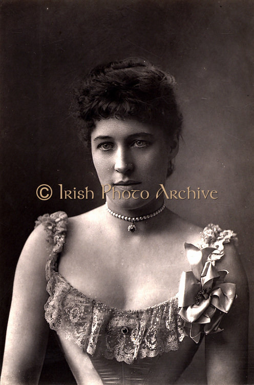 Lillie Langtry (1853-1929, born  Emilie Charlotte le Breton) only daughter of the Dean of Jersey, she was called the Jersey Lily. English society beauty and actress. Among her extra-marital lovers were Prince Louis of Battenberg and Albert Edward, Prince of Wales, the future Edward VII. In 1887 she took American citizenship.  Woodbury type after photograph by W & D Downey, c1892.
