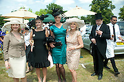 MRS. GEORGE PISKOVA; BRIGITTE NIELSON;LIZ BREWER; GEORGE PISKOVA CHECKING HIS PHONE, June 2011. <br /> <br />  , -DO NOT ARCHIVE-© Copyright Photograph by Dafydd Jones. 248 Clapham Rd. London SW9 0PZ. Tel 0207 820 0771. www.dafjones.com.