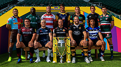 Team captains (top row, from left to right) Harlequins' Danny Care, London Irish's Topsy Ojo, Gloucester Rugby's Ross Moriarty, Worcester Warriors' Doncha O'Callaghan, Northampton Saints' Dylan Hartley, Newcastle Falcons' Toby Flood, Leicester Tigers' Ben Youngs, (Bottom row from left to right) Saracens' Jamie George, Sale Sharks' James O'Connor, Exeter Chiefs' Jack Nowell, Wasps' James Haskell and Bath Rugby's Anthony Watson during the Aviva Premiership season launch at Twickenham Stadium, London.