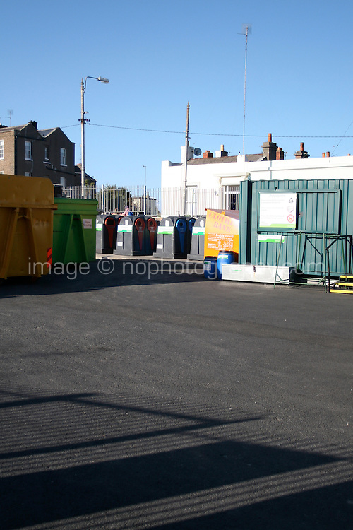 Glass, can and clothes recycling bins at the local county council Glasthule recycling centre in Dublin Ireland