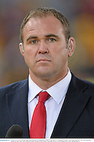 6 July 2013; Former Welsh rugby international Scott Quinnell working for Sky Sports at the game. British & Irish Lions Tour 2013, 3rd Test, Australia v British & Irish Lions. ANZ Stadium, Sydney Olympic Park, Sydney, Australia. Picture credit: Stephen McCarthy / SPORTSFILE