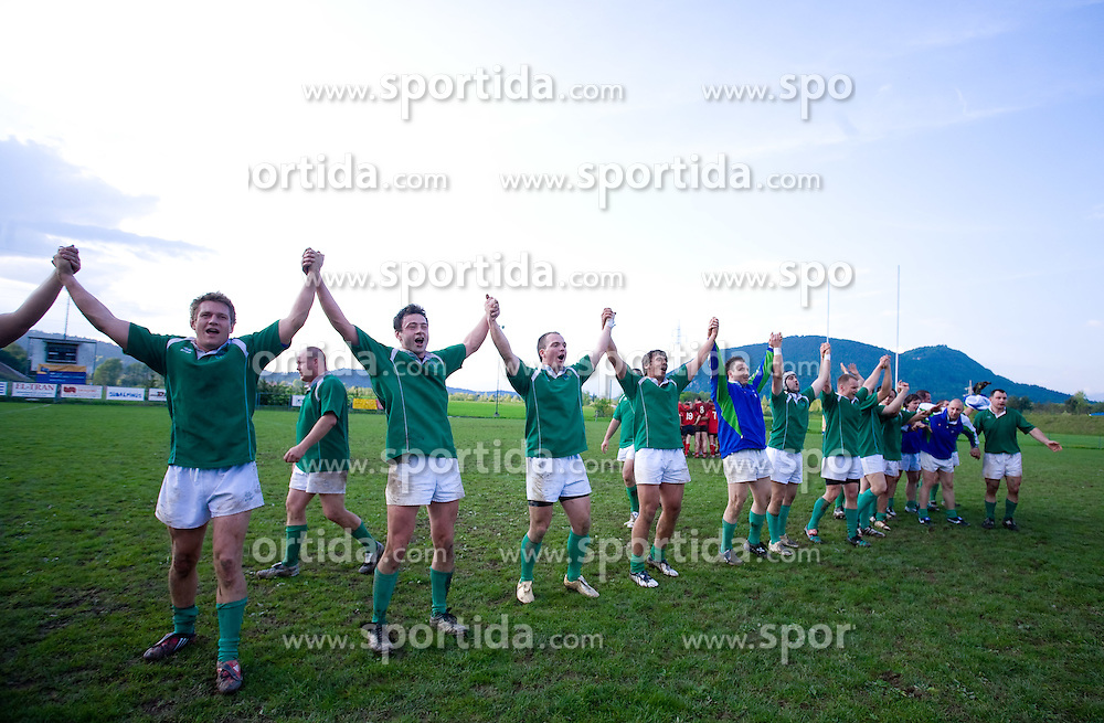 Team Slovenia celebrates after rugby match between National team of Slovenia (green) and Norway (red) at EUROPEAN NATIONS CUP 2008-2010 of B group 3rd division, on April 25, 2008, in Stanezice, Ljubljana, Slovenia. (Photo by Vid Ponikvar / Sportida)