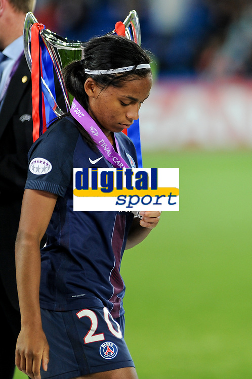 Perle Morroni of  Paris Saint-Germain looks dejected during the UEFA Women's Champions League Final between Lyon Women and Paris Saint Germain Women at the Cardiff City Stadium, Cardiff, Wales on 1 June 2017. Photo by Giuseppe Maffia.<br /> Giuseppe Maffia/UK Sports Pics Ltd/Alterphotos