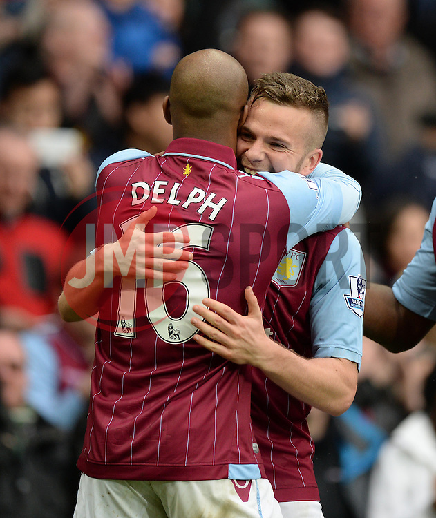 Aston Villa's Tom Cleverley celebrates with Aston Villa's Fabian Delph - Photo mandatory by-line: Alex James/JMP - Mobile: 07966 386802 - 02/05/2015 - SPORT - Football - Birmingham - Villa Park - Aston Villa v Everton - Barclays Premier League