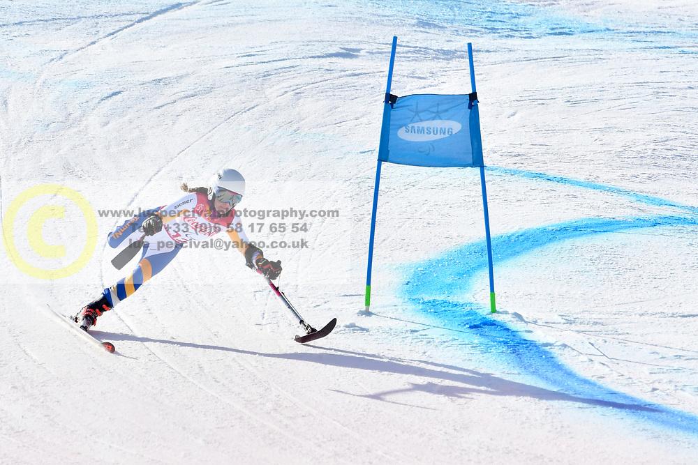 JOCHEMSEN Anna LW2 NED competing in ParaSkiAlpin, Para Alpine Skiing, Super G at PyeongChang2018 Winter Paralympic Games, South Korea.