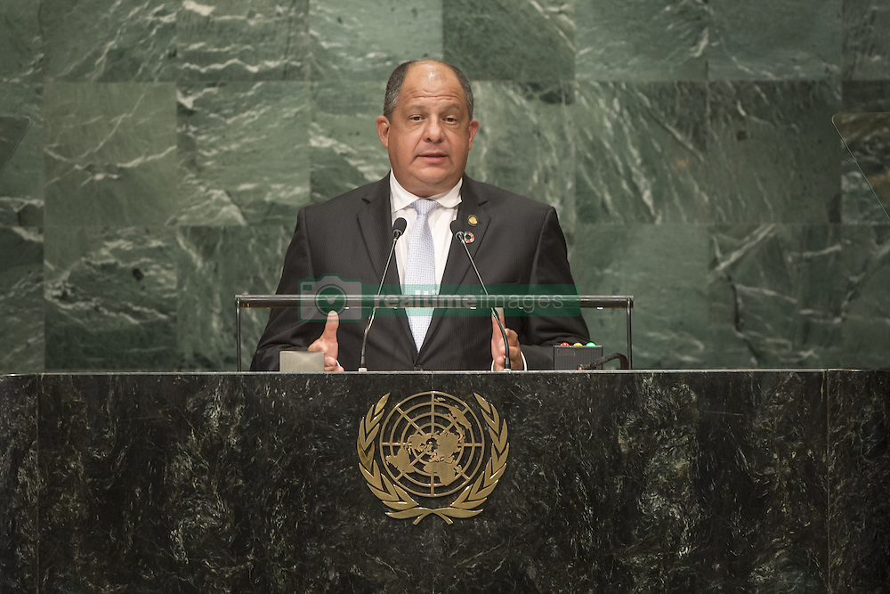 UNITED NATIONS, Sept. 21, 2016 (Xinhua) -- Costa Rican President Luis Guillermo Solis addresses the United Nations General Assembly at the UN headquarters in New York, the United States, Sept. 20, 2016. The 71st session of the UN General Assembly on Tuesday kicked off its annual high-level General Debate at the UN headquarters in New York, with a focus on pushing for the world's sustainable development. (Xinhua/UN Photo/Cia Pak) (Credit Image: © Un /Cia Pak/Xinhua via ZUMA Wire)