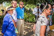 29 AUGUST 2012 - PARADISE VALLEY, AZ:   CC GOLDWATER (right) endorses Dr. RICHARD CARMONA, (center right) Democratic candidate for US Senate from Arizona, while her mother, JOANNE GOLDWATER and son, TYLER ROSS GOLDWATER, listen to her endorsement in Barry Goldwater Memorial Park in Paradise Valley, AZ. Carmona won the endorsements of Joanne Goldwater, daughter of Barry Goldwater, the late legendary Republican Senator from Arizona. He was also endorsed by CC Goldwater, her daughter, and Tyler Ross Goldwater, CC Goldwater's son. Barry Goldwater was from Paradise Valley.   PHOTO BY JACK KURTZ