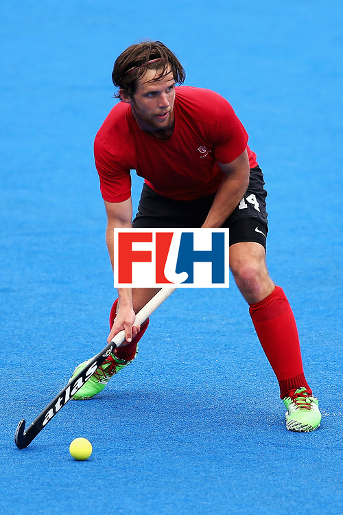 LONDON, ENGLAND - JUNE 24:  Adam Froese of Canada in action during the 5th-8th place match between Canada and China on day eight of the Hero Hockey World League Semi-Final at Lee Valley Hockey and Tennis Centre on June 24, 2017 in London, England.  (Photo by Steve Bardens/Getty Images)