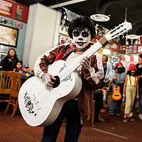 Jeremiah Benally, 10, dressed as Miguel Rivera, the main character in Coco at a costume contest at Sammy C's Rockin Sports Pub & Grille on Halloween. Benally won fourth place in the costume contest.