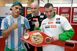 Challenger Argentina's boxer Rodolfo Ezequiel Martinez alias Epi alias Scania, promoter Nani Matjasic and Slovenia's Boxer and  IBF World Champion Dejan Zavec alias Jan Zaveck alias Mr. Simpatikus at open for public and press practice session before defending title, on April 6, 2010, in BTC City park, Ljubljana, Slovenia.  (Photo by Vid Ponikvar / Sportida)