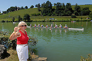 Lucerne, SWITZERLAND,  A Finals, Annie SPRACKLEN toast the CAN M8+ after winning the Gold medal at the 2007 FISA World Cup, Lucerne, on the Rotsee Lake, 15/07/2007  [Mandatory Credit Peter Spurrier/ Intersport Images] , Rowing Course, Lake Rottsee, Lucerne, SWITZERLAND.