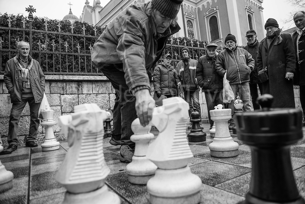A chess game in the square outside the Orthodox Cathedral