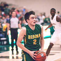 4th year guard, Samuel Hillis (2) of the Regina Cougars during the Men's Basketball Home Game on Sat Dec 01 at Centre for Kinesiology,Health and Sport. Credit: Arthur Ward/Arthur Images