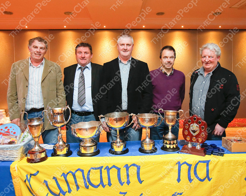 31/01/2014<br /> The management team of Kieran McNamara, Joe Reidy, Pat Crotty, Martin Nolan and JJ O'Dea pictured at a Banner Ladies Football Medal Presentation Night which took place at the West County Hotel, Ennis.<br /> Picture: Don Moloney / Press 22