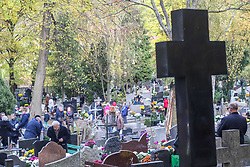 November 1, 2018 - Gdansk, Poland - A general view of the Lostowicki Cemetery in Gdansk, Poland is seen on 1 November 2018  Christian people celebrate All Saints Day (Wszystkich Swietych), pay respect to the dead family members, lay flowers and lit candles on their graves. All Saints' Day on 1 November and All Souls' Day on 2 November are when millions of Poles visit the graves of loved ones, often travelling hundreds of kilometres to their home towns  (Credit Image: © Michal Fludra/NurPhoto via ZUMA Press)